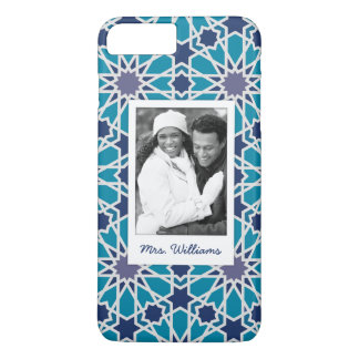 Custom Photo & Name Blue And Grey Abstract Pattern iPhone 8 Plus/7 Plus Case