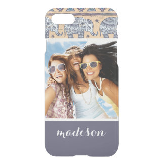 Custom Photo & Name Blue Elephant Tribal Pattern iPhone 8/7 Case