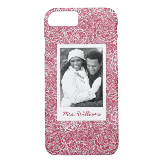 Custom Photo & Name Blue lace flowers pattern iPhone 8/7 Case