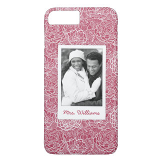 Custom Photo & Name Blue lace flowers pattern iPhone 8 Plus/7 Plus Case