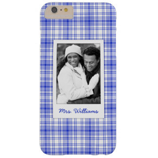 Custom Photo & Name Blue White Plaid 2 Barely There iPhone 6 Plus Case