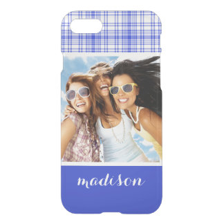 Custom Photo & Name Blue White Plaid 2 iPhone 8/7 Case
