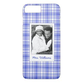 Custom Photo & Name Blue White Plaid 2 iPhone 8 Plus/7 Plus Case