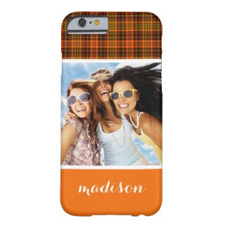 Custom Photo & Name Bright Fall Plaid Barely There iPhone 6 Case