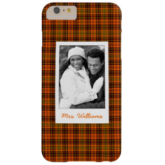 Custom Photo & Name Bright Fall Plaid Barely There iPhone 6 Plus Case