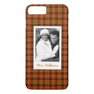 Custom Photo & Name Bright Fall Plaid iPhone 8 Plus/7 Plus Case