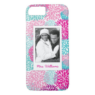 Custom Photo & Name Bright Floral pattern 2 iPhone 8/7 Case