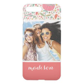 Custom Photo & Name Bright floral pattern iPhone 8 Plus/7 Plus Case
