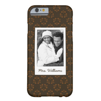 Custom Photo & Name Brown abstract pattern Barely There iPhone 6 Case