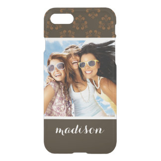 Custom Photo & Name Brown abstract pattern iPhone 8/7 Case