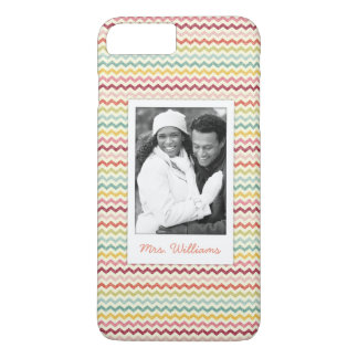 Custom Photo & Name Chevron Pattern 4 iPhone 8 Plus/7 Plus Case