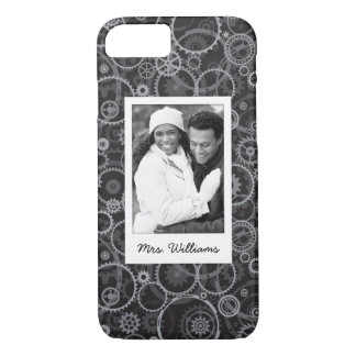 Custom Photo & Name Cogwheels pattern iPhone 7 Case