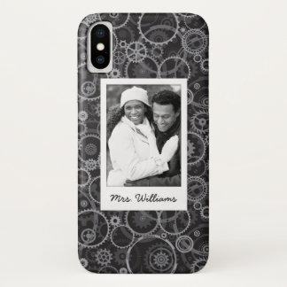 Custom Photo & Name Cogwheels pattern iPhone X Case