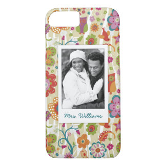 Custom Photo & Name Color Floral and Owl iPhone 8/7 Case