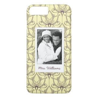 Custom Photo & Name Cream Floral Pattern iPhone 8 Plus/7 Plus Case