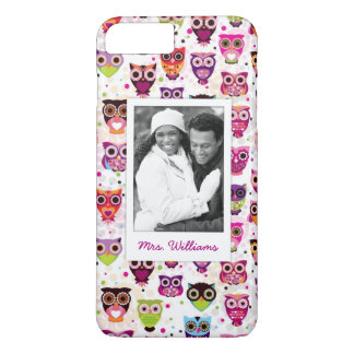 Custom Photo & Name Cute owl pattern iPhone 8 Plus/7 Plus Case