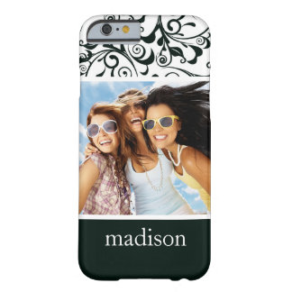 Custom Photo & Name Damask Barely There iPhone 6 Case