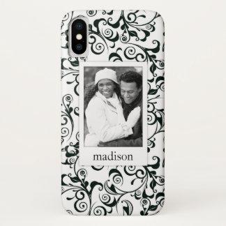 Custom Photo & Name Damask iPhone X Case
