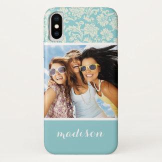 Custom Photo & Name Damask Pattern 3 iPhone X Case