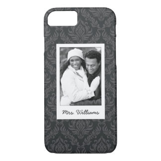 Custom Photo & Name Damask Pattern 6 iPhone 8/7 Case