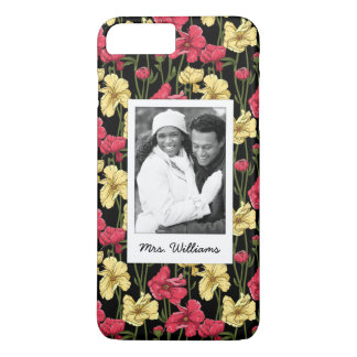 Custom Photo & Name Elegant floral pattern 2 iPhone 8 Plus/7 Plus Case