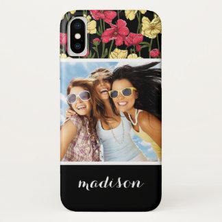 Custom Photo & Name Elegant floral pattern 2 iPhone X Case