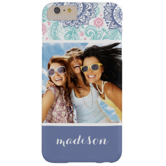 Custom Photo & Name Ethnic Paisley Pattern Barely There iPhone 6 Plus Case