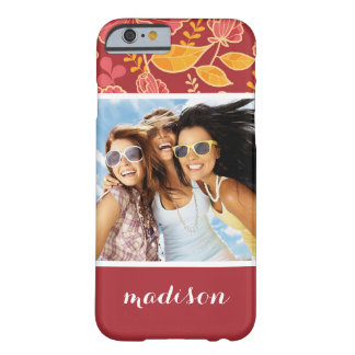 Custom Photo & Name Fall Garden Pattern Barely There iPhone 6 Case