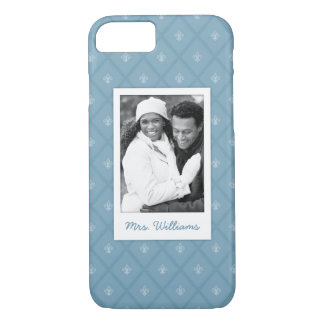 Custom Photo & Name Fleur-de-lis pattern iPhone 8/7 Case