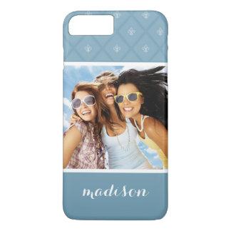 Custom Photo & Name Fleur-de-lis pattern iPhone 8 Plus/7 Plus Case