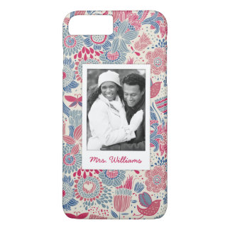 Custom Photo & Name Floral bird & butterfly design iPhone 8 Plus/7 Plus Case