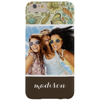 Custom Photo & Name Floral Butterfly Pattern Barely There iPhone 6 Plus Case