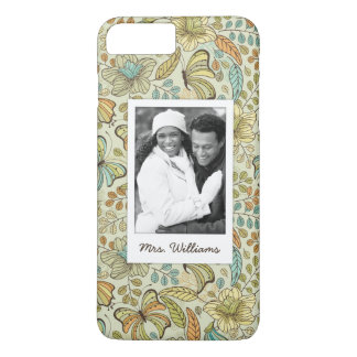 Custom Photo & Name Floral Butterfly Pattern iPhone 8 Plus/7 Plus Case