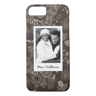 Custom Photo & Name Floral pattern with birds 2 iPhone 8/7 Case