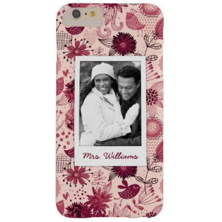 Custom Photo & Name Floral pattern with birds Barely There iPhone 6 Plus Case