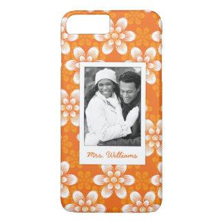 Custom Photo & Name Flowers Pattern iPhone 8 Plus/7 Plus Case