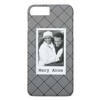 Custom Photo & Name Geometric checked texture iPhone 8 Plus/7 Plus Case