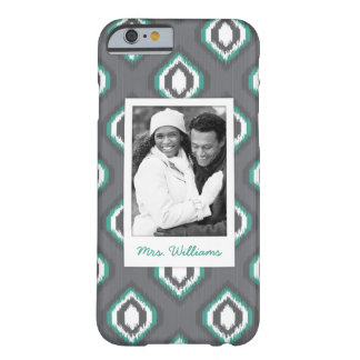 Custom Photo & Name Geometric Retro Ikat Pattern Barely There iPhone 6 Case