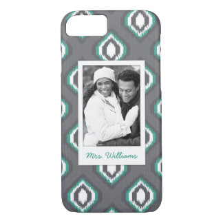 Custom Photo & Name Geometric Retro Ikat Pattern iPhone 8/7 Case