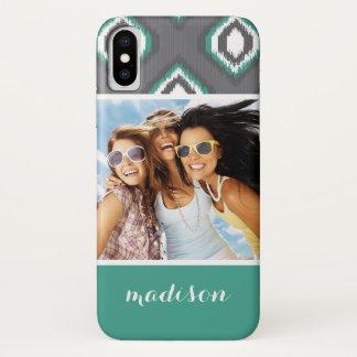 Custom Photo & Name Geometric Retro Ikat Pattern iPhone X Case