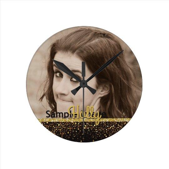 Custom Photo Name | Girly Gold Glitter Black