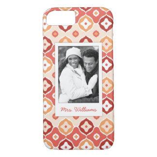 Custom Photo & Name Golden ikat geometric pattern iPhone 8/7 Case