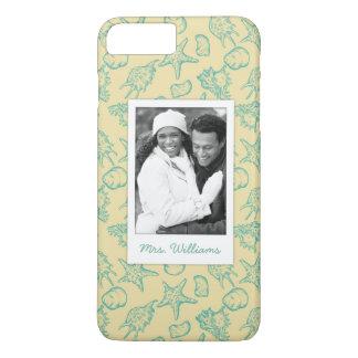 Custom Photo & Name Hand Drawn Shells 2 iPhone 8 Plus/7 Plus Case