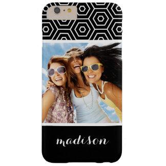 Custom Photo & Name Hexagonal geometric pattern Barely There iPhone 6 Plus Case