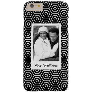 Custom Photo & Name Hexagonal geometric pattern Barely There iPhone 6 Plus Case