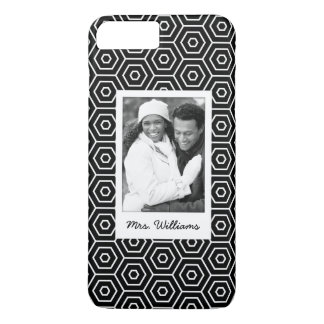 Custom Photo & Name Hexagonal geometric pattern iPhone 8 Plus/7 Plus Case