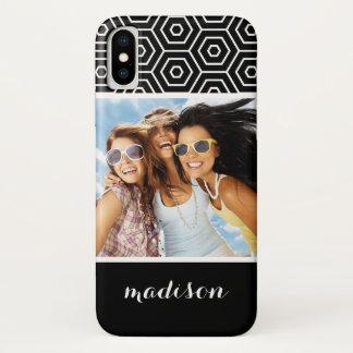 Custom Photo & Name Hexagonal geometric pattern iPhone X Case