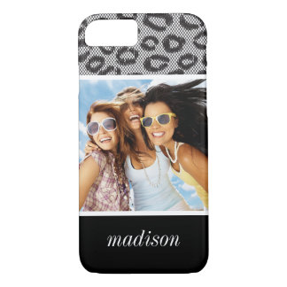 Custom Photo & Name lace with leopard pattern iPhone 8/7 Case