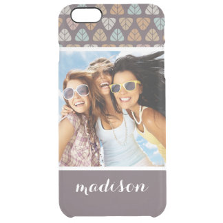 Custom Photo & Name Leaf pattern 2 Clear iPhone 6 Plus Case