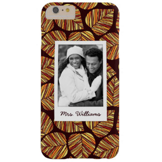 Custom Photo & Name Leaf pattern Barely There iPhone 6 Plus Case